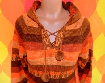 vintage 70s sweater hood orange stripe alpaca LLAMA ethnic pom pom fringe native pattern boho rockstar women Medium