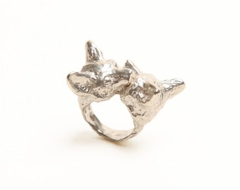 Nuzzling Foxes Ring in Sterling Silver
