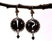Question Authority Typographic Earrings in Black
