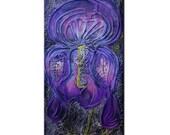 Iris 18 x 36 Canvas abstract textured flower painting rebecca bessette original art