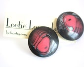 Lucite Retro Earrings - Pink and Black Marbled Agate Button Posts