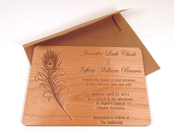 Peacock Feather Wooden Wedding Invitation