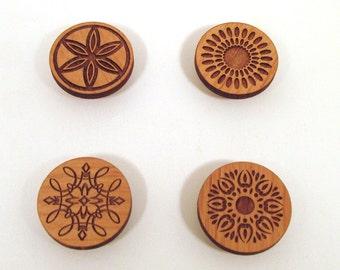 Graphic Design Magnets - Engraved Wood - Set of 4