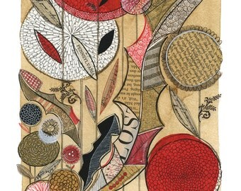 lost - 11X14 GICLEE PINT, floral, botanical collage, Susan Black