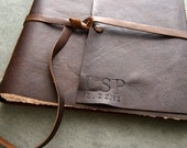 11x11 - Initials and Date - Leather Wedding Guest Book, Photo Album, Sketchbook, or Journal