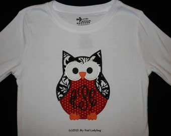 Valentines Owl Applique Shirt Personalized