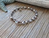 Silver crocheted bracelet, with thai flower , boho, bohemian, pretty evening wear, original crocheted jewelry