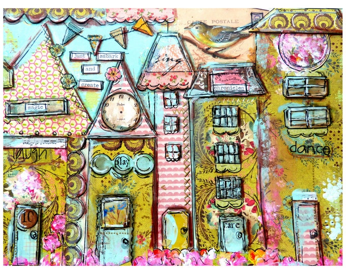 Art Print, Collage Work, Whimsical Houses