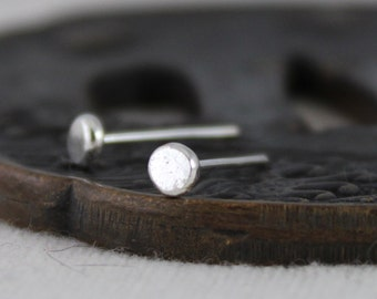 Glint - flattened stud earrings for men or women - choose your size