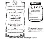 Mason Jar Wedding invitation Rubber Stamp SET with Invitation, RSVP and Return address --13012-MULT-000