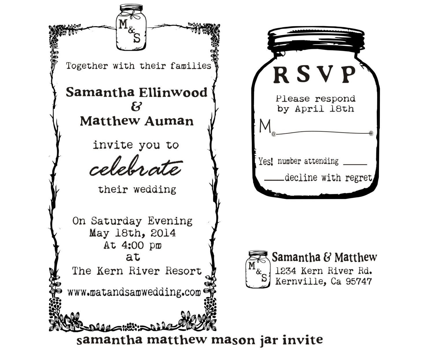 Wedding Invite Stamp: Mason Jar Wedding Invitation Rubber Stamp SET With Invitation