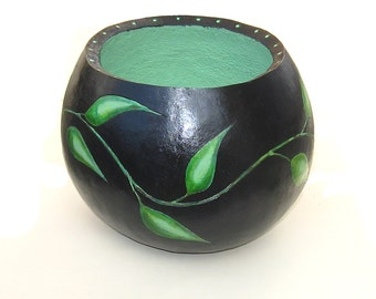 Gourd Bowl Painted Gourd Green Black Gourd Art Leaf Vine Container Baskets Bowls Graceful Nature Art Large Container Foyer Home Decor