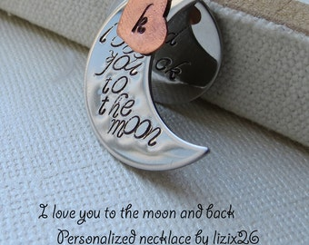 I love you to the Moon and Back Necklace/ Personalized Necklace/ Stamped Initial Heart, Grandma Necklace, Mother Daughter, Family Necklace