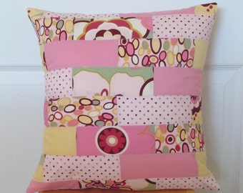 SALE- Kleo Pillow Cover: Ready to ship, patchwork, home decor, pillow cover, nursery decor, flowers, pink, yellow, dots