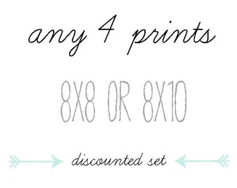 DISCOUNTED SET, You Choose Any Four Photographs, 8x8 or 8x10, Gift Set, Home Decor, Photo Collection