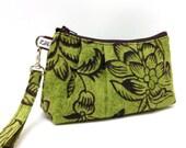 Rectangular Wristlet Clutch Purse - Brown Flowers on Chartreuse Green