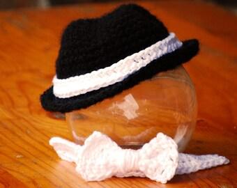 Baby hat, Fedora Hat , bow tie set  , cowboy hat Size newborn 0  3 6 12 months photo prop MADE TO ORDER
