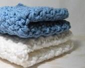 Cotton Crochet Wash Cloths, Blue and White Washcloths, Handmade Dish Cloths, Eco Friendly Dishcloths