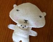 Hand Sewn Felt Mama Bear and Baby