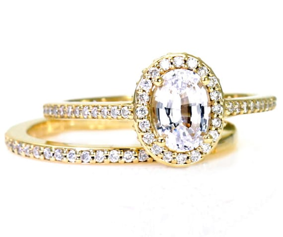 Oval White Sapphire Wedding Set Engagement Ring Oval by ...