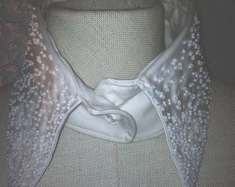 white beaded detachable collar