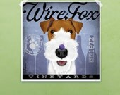 Wire Fox Terrier Wine Company original graphic illustration giclee archival signed artists print by stephen fowler Pick A Size