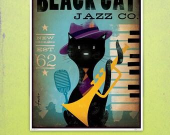 Black Cat Piano Jazz Bar artwork original graphic illustration signed archival artists print giclee