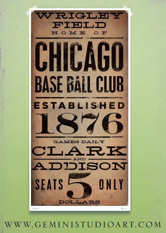 Chicago Wrigley field typography vintage style giclee signed artists print by stephen fowler