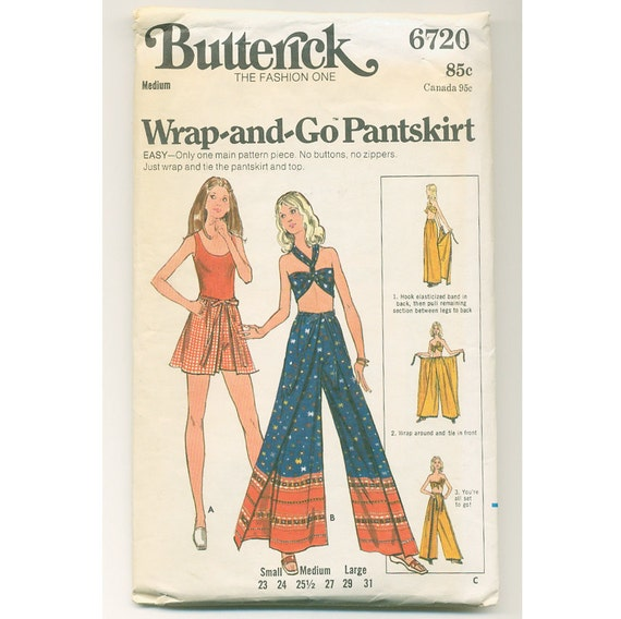 1970s Wrap Around Shorts And Pants Pattern Bell Bottom Loose