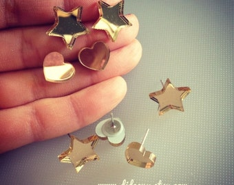 Gold mirror Heart stud only