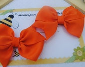 Tangerine Orange Hairbow Pair...Set of Toddler Bows...Set of Colorful Hair Clips...Two Flat Loop Hair Bows...Pretty Pigtail Hairbows