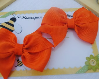 Tangerine Orange Hairbow Pair - Set of Toddler Bows - M2M MJ Once Upon A Time - Two Auburn Hair Bows - Pigtail Hairbows for Clemson Fan