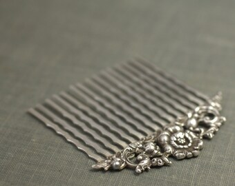 Bridal hair comb antique silver floral elegant vintage style wedding hair accessory art nouveau