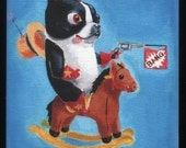 Boston Terrier Cowboy and Indians Magnet