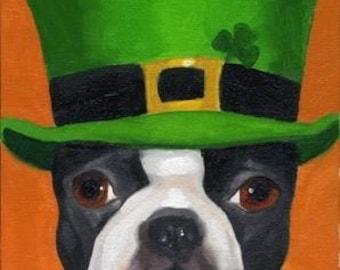 101 Boston Terriers wearing hats Number 24 Boston Terrier  dog art PRINT