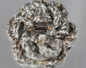 Crochet Flower Brooch - Taupe, Gray and Beige DREAM