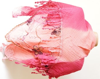 Flower Scarf - Cotton Scarf - Pink Red Scarf - Hand Dyed Shawl