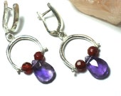 Silver Dangle Earrings-Gemstone Sterling Earrings-Drop Gemstone earrings- Artisan earrings-Carnelian and Amethyst Beads