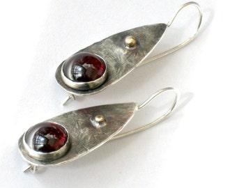 Silver Garnet Tear Drop Earrings, Earrings Dangle, Sterling Gold, Drop Earrings