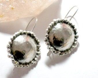 Silver Dangle Earrings,  Silver Drop Earrings, Hammered Silver Earrings, Hammered Dome Pendant, Everyday Jewelry, Round Sterling Earrings