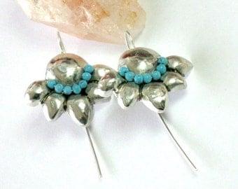 Hammered Silver Earrings, Silver Turquoise Earrings, Artisan Earrings, Artisan Silver Jewelry, Beaded Earrings, Drop Earrings