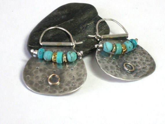 Turquoise Silver Earring Hoops, Mixed Metal Earrings, Turquoise Earrings, Turquoise Hoops, Tribal Earring Hoops, Silver Turquoise