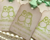 Wedding Favor Tags Birds - Vintage Style Set of 25 - Bride and Groom Names
