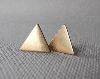 Triangle Earrings, Geometric Earring Studs, Minimal Earrings, Gift for Woman, Boho Earrings, Sterling Silver Hypoallergenic Earrings (E166)