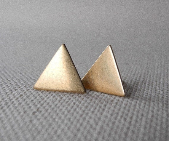 Triangle Earrings,Geometric Earring Studs,Minimal Earrings,Gift for Her,Boho Earrings,Sterling Silver Hypoallergenic Earrings (E166)