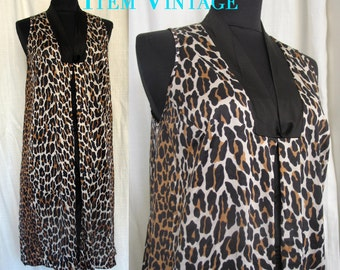 Vintage 1970s Leopard Print Punk Rock Dress SZ M