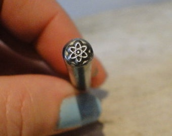 Design Stamp - ATOM - 1/4 inch (5mm) image - includes How to Stamp Metal tutorial