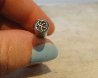 Design Stamp - BASKETBALL - 1/4 inch (6mm)  - includes How to Stamp Metal tutorial
