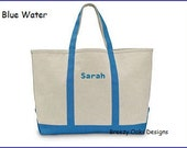 Personalized Classic Beach Tote, Canvas, Beach Tote, Pool Bag, Pool Tote, Summer Camp, Spa Bag, Spa Carryall, Large Bag,