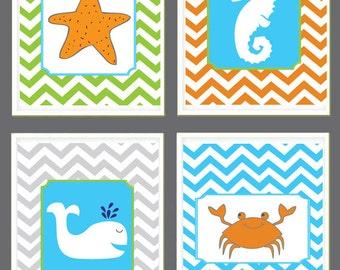 Kids Bathroom Art -  Crab, Seahorse, Whale, Starfish - Ocean Theme - Nursery